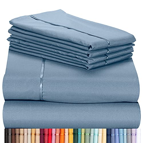 """LuxClub 6 PC Sheet Set Bamboo Sheets Deep Pockets 18"""" Eco Friendly Wrinkle Free Sheets Machine Washable Hotel Bedding Silky Soft - Denim Queen"""