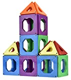 Discovery Toys CONNECTIX Magnetic Building Tiles | Kid-Powered Learning | STEM Toy | Set of 30 Magnetic Squares and Triangles in 6 Colors | 2D & 3D | 3 Years and Up | Non-Toxic and BPA-Free