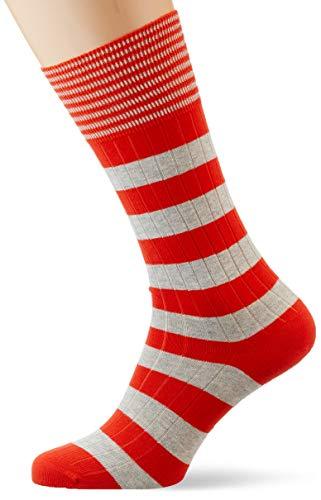 Hackett Herren INCH STRIPE Socken, Grau (9gjgrey/Orang 9gj), 39/42 (Herstellergröße: SM)
