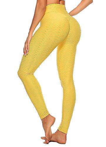 INSTINNCT Damen Slim Fit Hohe Taille Sportshort Lange Leggings mit Bauchkontrolle Gelb S