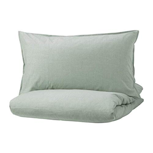 IKEA Bergpalm Duvet Cover and Pillowcases Green Stripe 104.231.84 Size: Full/Queen (Double/Queen)