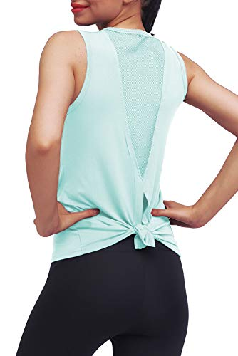 Mippo Womens Tops Workout Tops for Women Yoga Shirts Athletic Tops Mesh Running Tank Tops Muscle Tanks Sports Activewear Workout Clothes for Women Mint Green L