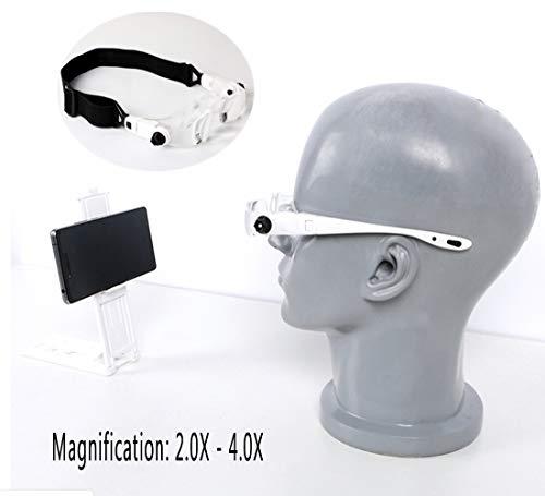 Hoofdband glazen vergrootglas Goggles Verstelbare vergroting Vergrootglas Eyeglass houder en hoofdband kan worden vervangen Geef weg bril case Mobiele telefoon houder