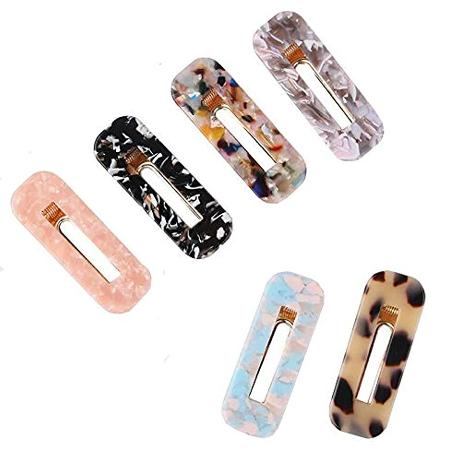 SUSHARE 6PCS Acrylic Resin Hair Clips Hair Barrettes Fashion Geometric Print Hairpins Alligator Vintage Hair Accessories for Women Girls