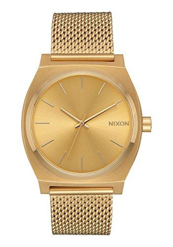 Nixon Time Teller Milanaise Damennuhr Analog Quarz mit Edelstahl Armband All Gold