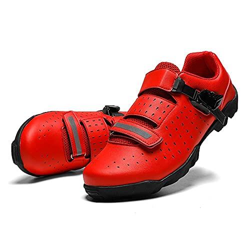 HYQW Sin Enclavamiento Al Aire Libre Profesional MTB Zapatos Mujer Las Zapatillas Deporte Los Hombres, Transpirable Antideslizante Racing Camino De La Bicicleta Calzado Deportivo VIIPOO,Red-43 EU