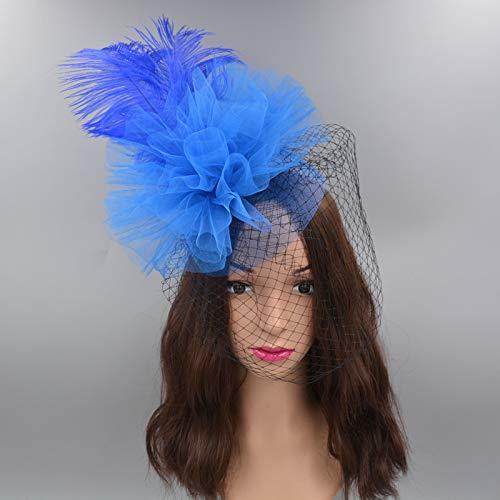 Veil Hoed Catwalk Avondjurk Tiara Hoofdstuk Stage Top Clip Hair-bijgesneden Mesh Jurk Hoed Donkerblauw
