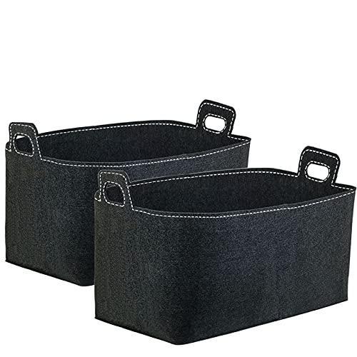 Stonebroo Cesta de leña Grande (2er set), Chimenea Madera Cesta, Bolsa de Fieltro, para Transportar Madera, Juguetes, 60 x 40 x 40 cm (Largo x Ancho x Alto), Negro LMZ22B02