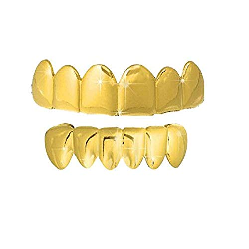 Big Dawgs Bling Gold Hip Hop Removeable Mouth Grillz Set (Top & Bottom) Player Style