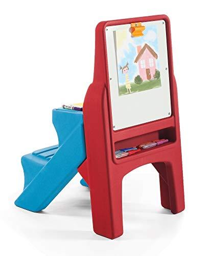 Beauty.Scouts Tafel-/Schreibtisch Raffa aus Kunststoff rot blau gelb 50x61x83,8cm Standkindertafel Spieltafel Maltafel SchaumstoffMagnetbuchstaben Ablagefach
