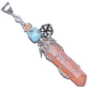 Tangerine Quartz Larimar Handmade Pendant for Necklace