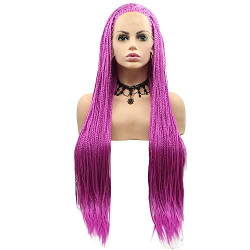 Perruque de cheveux synthétiques tressés à la main pour femme - Rose violet - Pour femme - Couleur pastel - Lilas - 66 cm