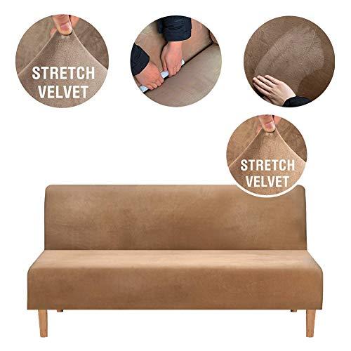 Sofabezug Ohne Armlehnen 3 Sitzer, Spandex Couch Bezug Ohne Armlehne Elastischer Antirutsch Stretchhusse, Bettcouch Schonbezug Einfarbig (Braun)