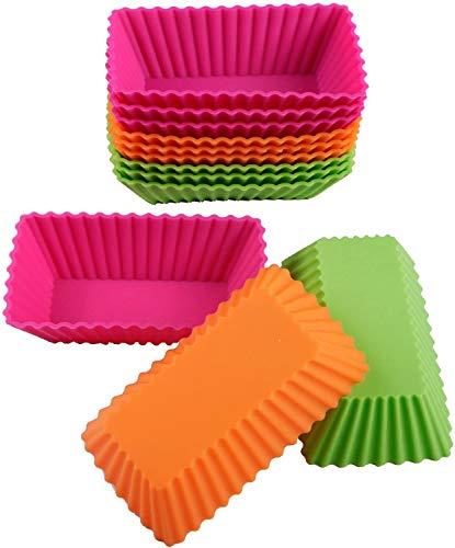 Webake Moldes rectangulares de silicona para magdalenas, 11 cm, extragrandes, reutilizables y antiadherentes, para tartas, helados, pudines, gelatina, paquete de 12