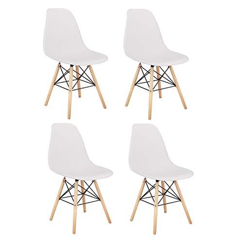 Un set di quattro sedie da pranzo, gambe in legno di faggio naturale dal design ergonomico, sedie semplici, aspetto medioevale. (bianco, 4)