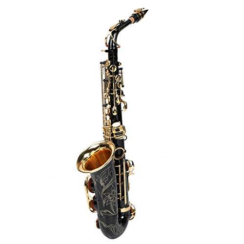 Nessun tasto sbiadito per sassofono contralto Ottone Tubo piegato senza ossidazione Sax mi bemolle, per gli amanti del sax, per principianti, insegnamento e spettacoli sul palco(black)