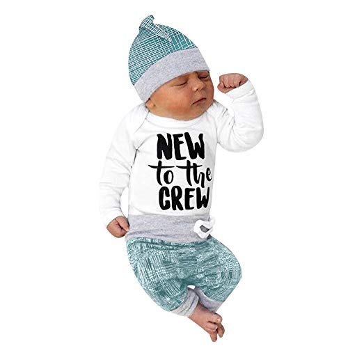 Obestseller Babybekleidung Neugeborenes Baby Langarm mit Buchstabenstreifen Jungen Mädchen gestreiften Brief drucken Tops + Pants + Hat Casual Set Kleidung