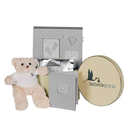 BebeDeParis   Regalos Originales para Bebés Recién Nacidos   Canastilla Bebé Happy Recuerdos   Set de Huellas Corazón Osito  3-6 Meses (Gris)