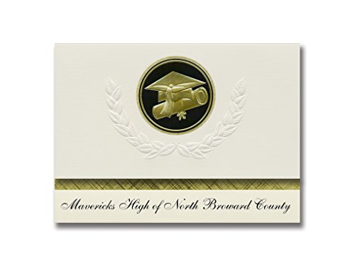 Signature Announcements Mavericks High of North Broward County (Pompano Beach, FL) Graduation Announcements, Presidential Elite Pack 25 Cap & Diploma Seal. Black & Gold. -  Signature Announcements, Inc, PAC_ELITEPres_HS25_106224_212320
