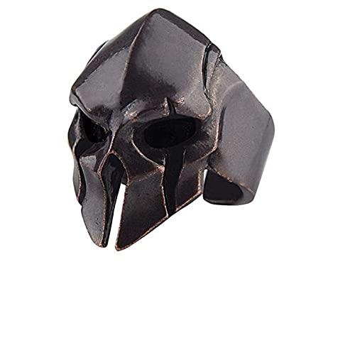 XTONG Spartan Warrior Skull Ring, GóTico Biker Punk Vintage Ring Spartan, Anillos Vikingos Ajustables De Acero Inoxidable para Hombres B