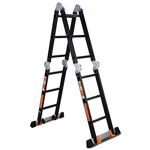 Escalera extensible/ Escalera telescópica Escalera de Tijera Negra para Escalera de extensión multifunción Industrial de Aluminio para Trabajo Pesado, 3.7 m / 12 pies, 4.7 m / 15 pies: Amazon.es: Hogar