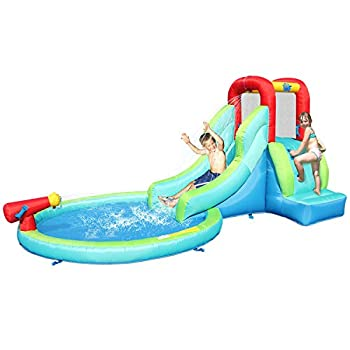 ACTION AIR Inflatable Waterslide Bounce House with Slide for Wet and Dry Kids Backyard Waterpark For Summer Fun Water Gun & Splash Pool Durable Sewn with Extra Thick Material Idea for Kids  9452