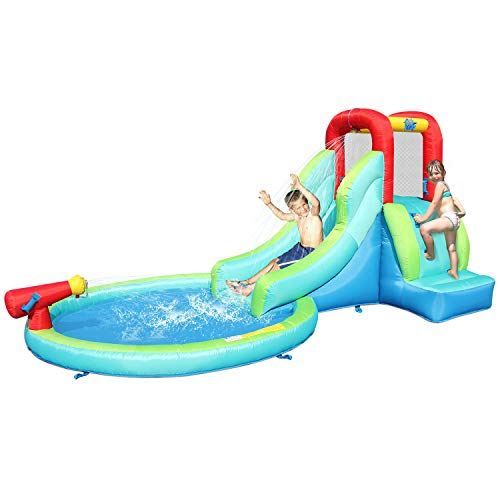 ACTION AIR Inflatable Waterslide, Bounce House with Slide for Wet and Dry, Kids Backyard Waterpark For Summer Fun, Water Gun & Splash Pool, Durable Sewn with Extra Thick Material, Idea for Kids (9452)