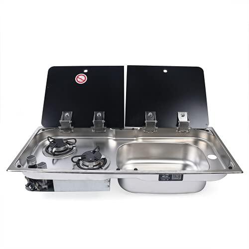 2 quemadores de gas para cocina de gas, fregadero con placa de cristal, grifo plegable de 360 grados para caravana, caravana, barco, autocaravana
