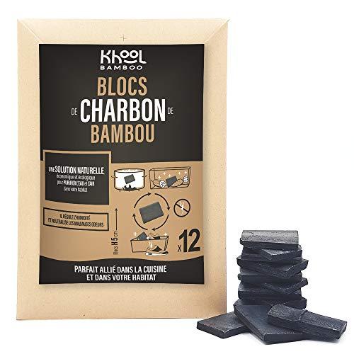 KHOOL BAMBOO | Blocs fins de charbon de bambou | Purificateur d'eau naturel & Désodorisant | Lot de 12 blocs de charbon de bambou