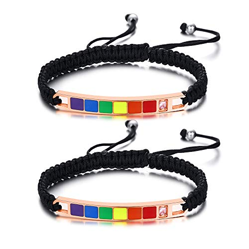 XUANPAI Set of 2 Gay Lesbian LGBT Pride Rainbow Colorful Relationship Handmade Weave Braided Rope Bracelets for Gay Lesbian Couples,Adjustable