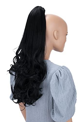 PRETTYSHOP 60cm Haarteil Zopf Pferdeschwanz Haarverlängerung Voluminös Gewellt Schwarz H48