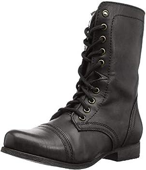 Steve Madden Women s Troopa Combat Boot Black Leather 7.5 W US