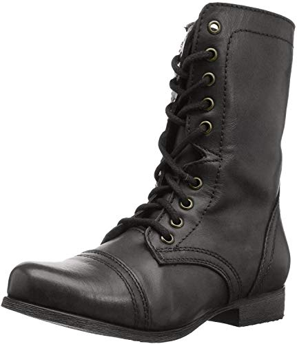 Steve Madden Women's Troopa Lace-Up Boot, Black Leather, 9 M US