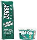Shaving Factory - Set para regalo con 100 cuchillas Derby Extra de doble cara y jabón de afeitado Derby