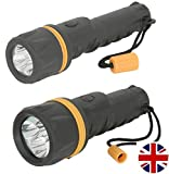 Two Pack - Home & Bag LED Torches Small & Large Rubber Body Heavy Duty, Weatherproof. and with 3 Wide Angle LED's.