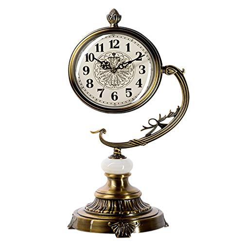 S.YJSUN Creativo Retro Mudo Péndulo Metal Europeo Salón Reloj Adornos Regalos