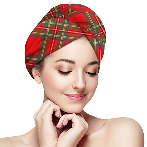 ZVEZVI Toalla para el Pelo de Microfibra Royal Stuart Lattice para Mujer, Turbante de Pelo de Secado rápido súper Absorbente para secar el Pelo Rizado, Largo y Grueso