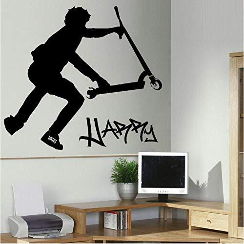 Terilizi Door de klant gemaakte gepersonaliseerde Stunt Scooter muuroverdracht Art Sticker Poster Decal-You Kies naam en kleur