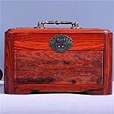 Almacenamiento de los troncos Madera de caoba joyería sólida maleta maquillaje pendientes caja de joyería Caja de almacenamiento con la cerradura Para el dormitorio, sala de estar y la casa para g