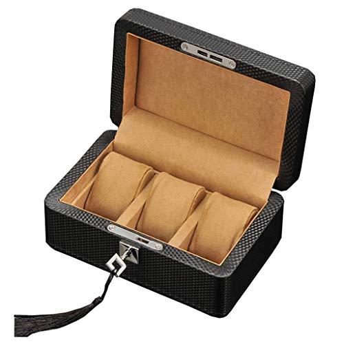 LJW RELOJER Organizador 3 Slots Caja DE RELAJE DE Madera para Hombres DE Metal Caso DE Viaje JOYERÍA Pulsera Pantalla de Regalo Storage para Hombres o Mujeres   Código de Productos básicos: LJW-232