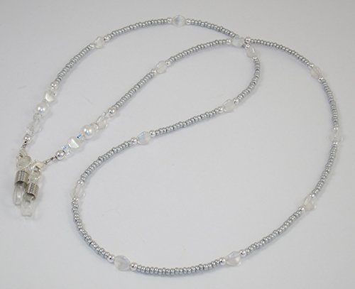 www.mein-Brillenband.de Brillenband/Brillenkette aus Glasperlen Silbergrau-perlmuttweiß BR-3688 Handmade