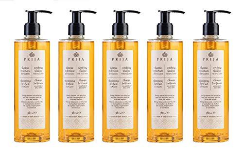 Línea cosmética Prija para cuerpo y cabello, desde el champú fortificante, al gel de ducha cremoso, a las cremas corporales. Envase de 380 ml (5 botellas, champú fortalecedor con eruca sativa)