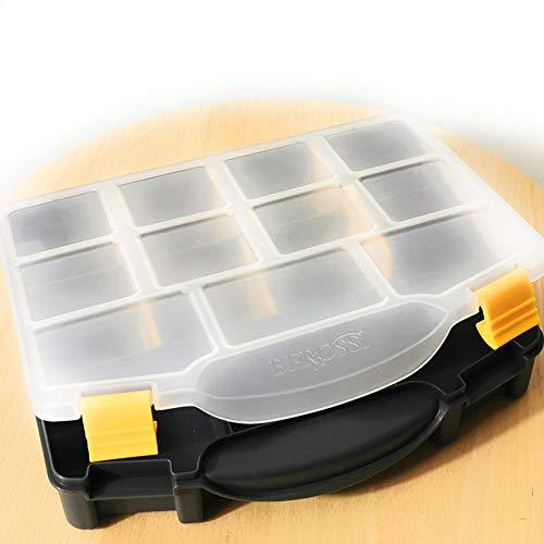Kerafactum Schrauben Sortierkasten Schraubenbox zur System Aufbewahrung | Aufbewahrungsbox für Kleinteile mit Deckel & Fächern | Sortierbox leer Schraubenaufbewahrung Box klein | Organizer 1 schwarz