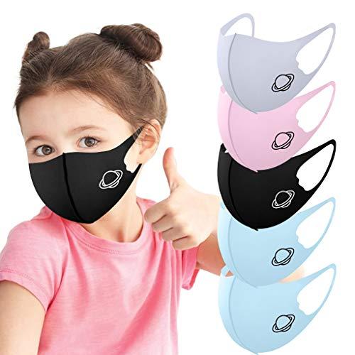 VijTIAN 5 piezas para cubrir la cara para niños y niños, seda de hielo, transpirable, lavable y ajustable, para niños y niñas