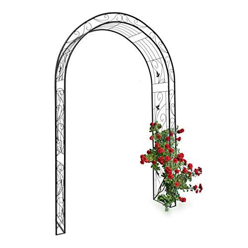 Relaxdays Rosenbogen Blatt mit Verzierung HBT 226 x 144 x 36,5 cm Rankhilfe und Torbogen als Kletterhilfe für Kletterrosen aus Eisen mit 6 Heringen stabiles Rankgitter und Rosenspalier, schwarz