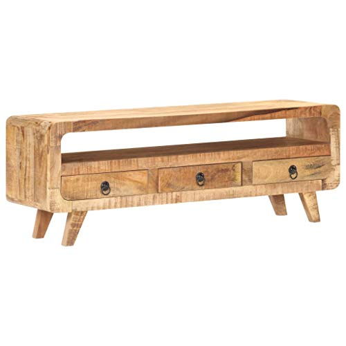 vidaXL Raues Mangoholz Massiv TV Schrank Lowboard TV Möbel Tisch Board Sideboard Fernsehtisch Fernsehschrank HiFi-Schrank 117x30x41cm