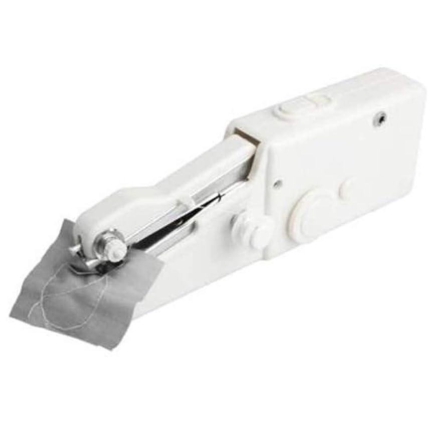 ディスクこしょうスケートハンドヘルド 電動ミシン コードレス ハンドヘルド クイック ハンディ ステッチ 縫い物 軽量 操作簡単 家庭用 初心者 それとも 旅行用 パック ホワイト サイズ 乾電池式 (白, 21×6.5×3.5 cm)