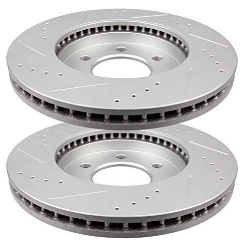 Brake Rotors Kit, LSAILON - Front 329.9mm Vented Drilled & Slotted Disc Brake...