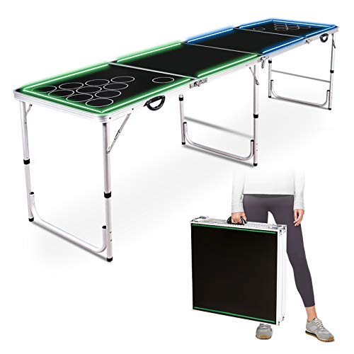Beer Pong Table 8FT Portable Flip Cup Table Folding Games Table Lightweight Tailgate Tables with Carrying Handles (8FT Aluminum Alloy)
