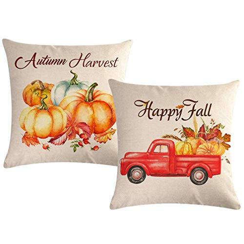 Paquete 2 Fundas Almohada Happy Fall con diseño camión Rojo Calabaza, Fundas cojín Cosecha otoño, Funda Almohada para el hogar, 18 x 18 Pulgadas